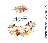 autumn with flower | Shutterstock .eps vector #697701022
