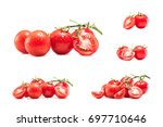 collection of fresh red cherry... | Shutterstock . vector #697710646