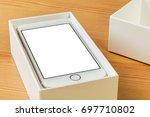 mockup   mobile phone in box | Shutterstock . vector #697710802