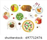 breakfast by country vector... | Shutterstock .eps vector #697712476