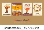 set of autumn templates. vector ... | Shutterstock .eps vector #697713145