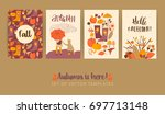 set of autumn templates. vector ... | Shutterstock .eps vector #697713148