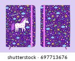 violet copybook template with... | Shutterstock .eps vector #697713676