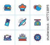 outline icons collection of... | Shutterstock . vector #697713895