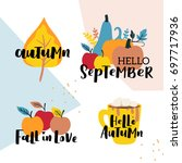 set of autumn vector... | Shutterstock .eps vector #697717936