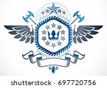 old style heraldry  winged... | Shutterstock . vector #697720756