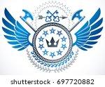 winged classy emblem  heraldic... | Shutterstock . vector #697720882
