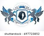 classy emblem  heraldic coat of ... | Shutterstock . vector #697723852