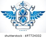winged heraldic sign made with... | Shutterstock . vector #697724332