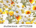watercolor  bouquets on grunge... | Shutterstock . vector #697725208