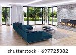 modern bright interiors. 3d... | Shutterstock . vector #697725382