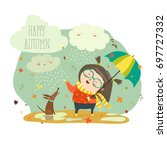 cute girl playing in rain with... | Shutterstock .eps vector #697727332