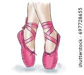 pink ballerina shoes. ballet... | Shutterstock .eps vector #697728655