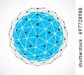 abstract 3d faceted figure with ... | Shutterstock . vector #697728988