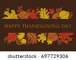happy thanksgiving day banner... | Shutterstock .eps vector #697729306