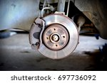 brake pad and disk on car  | Shutterstock . vector #697736092