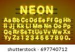 neon city color yellow font.... | Shutterstock .eps vector #697740712