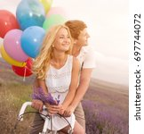 beautiful couple on the...   Shutterstock . vector #697744072