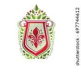 vintage heraldic emblem created ... | Shutterstock . vector #697744612
