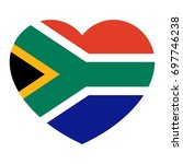 South Africa Flag In The Heart  ...