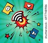 connection established. pop art ... | Shutterstock .eps vector #697748986
