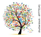 digital tree for your design | Shutterstock .eps vector #69775141