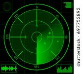 digital green radar screen and... | Shutterstock .eps vector #697752892