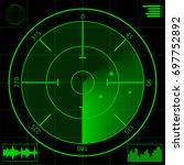 digital green radar screen and... | Shutterstock .eps vector #697752892