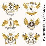 collection of heraldic... | Shutterstock . vector #697752922