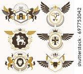 classy heraldic coat of arms.... | Shutterstock . vector #697753042