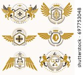 heraldic signs decorated with... | Shutterstock . vector #697753048