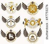 classy heraldic coat of arms.... | Shutterstock . vector #697753276