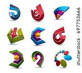 3d abstract shapes  different... | Shutterstock . vector #697753666