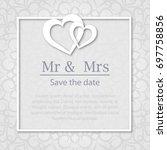 template of wedding invitation  ... | Shutterstock .eps vector #697758856