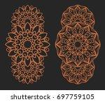 laser cutting set. wall panels. ... | Shutterstock .eps vector #697759105