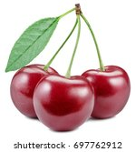 three cherries with leaf... | Shutterstock . vector #697762912