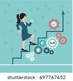 woman is climbing career ladder.... | Shutterstock .eps vector #697767652