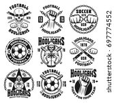 set of nine vector football or... | Shutterstock .eps vector #697774552