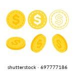 dollar flat isometric money.... | Shutterstock .eps vector #697777186