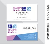 business card vector design and ... | Shutterstock .eps vector #697777528