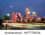 atlanta  usa. illuminated... | Shutterstock . vector #697778326