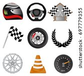 racing icons. racing objects... | Shutterstock .eps vector #697779355