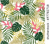 tropical background with palm... | Shutterstock .eps vector #697782718