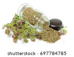 glass bottle with thyme on... | Shutterstock . vector #697784785