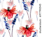watercolor seamless pattern... | Shutterstock . vector #697790545