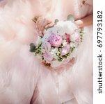 rich wedding bouquet of peonies ... | Shutterstock . vector #697793182