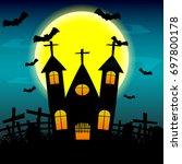 halloween night background with ...   Shutterstock .eps vector #697800178