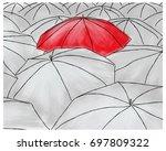 red umbrella in gray umbrellas... | Shutterstock .eps vector #697809322