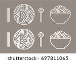 noodles and spoons and...   Shutterstock .eps vector #697811065
