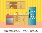 kitchen with furniture. cozy... | Shutterstock . vector #697812565